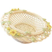 "Belleek Ireland ""Celtic Charm"" Woven Porcelain Basket"