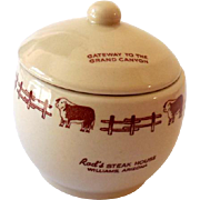 Wallace Advertising Restaurantware Lidded Sugar Bowl Rod's Steak House