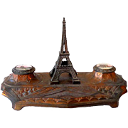 Art Deco Double Inkwell Eiffel Tower Paris France