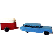 1950s  Tootsietoy Die Cast Metal Toy Station Wagon & Horse Trailer