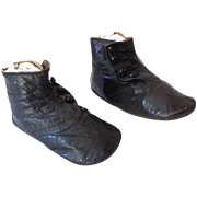 Pair of Black Button Up High Top Victorian Baby Shoes