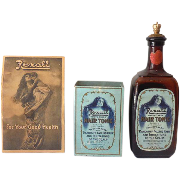 Early 1900s Amber Rexall Hair Tonic Bottle w/ Original Box, Pamphlet & Crown Top