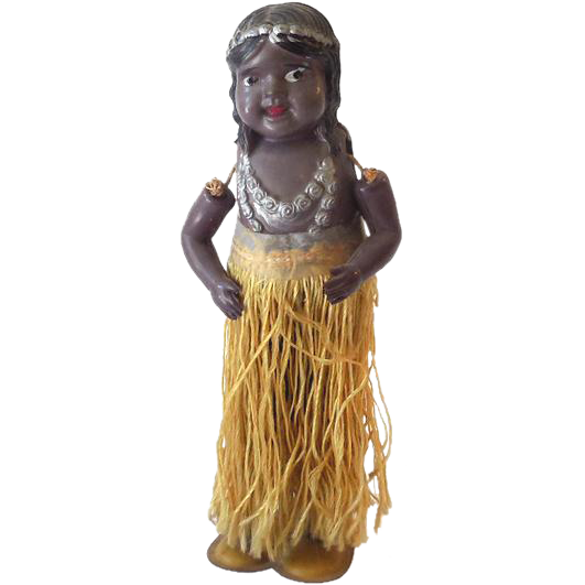 1920s-30s Wind Up Tin & Celluloid Hula Girl Dancer