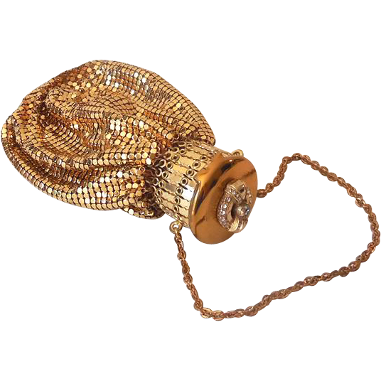 Stunning Jewel Top 1930s Whiting Davis Gold Metal Mesh Beggar's Bag