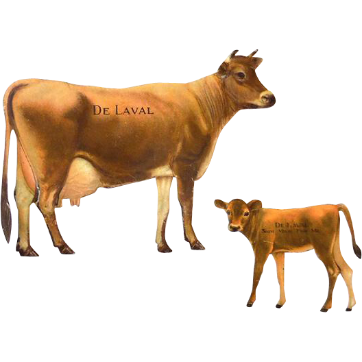 Complete De Laval Die Cut Tin Advertising Souvenir Jersey Cow and Calf 1910-1920