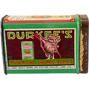 Durkee's Spice Tin Cinnamon with Poultry Seasoning Litho Ad on Back