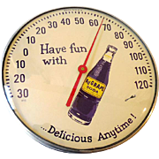 1950s-60s Nu Grape Soda Advertising Store Display Thermometer Glass