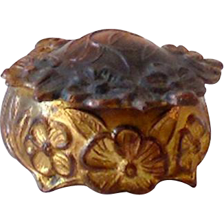Small Satin Lined Metal Ring or Jewelry Box 1910s-20s USA
