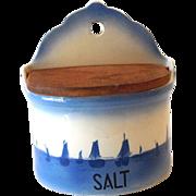 Vintage Ditmar Urbach Blue Delft Ceramic Salt Box Czechoslovakia