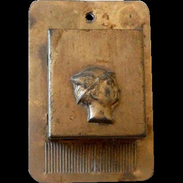 Vintage Tin Matches Holder With Striker Mercury God