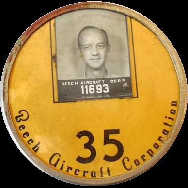 Vintage Employee Photo Identification Badge Aviation 1930s
