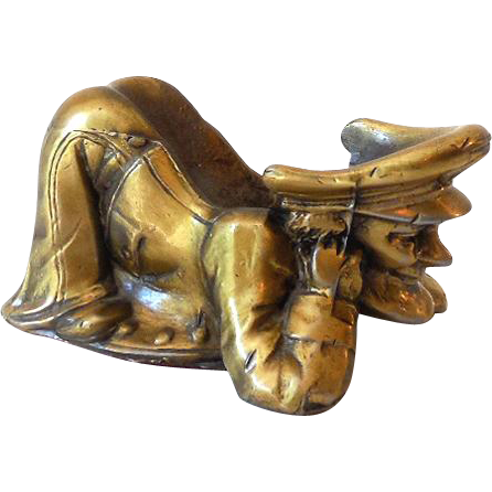 Vintage Brass Ornery Sailor Pipe Holder