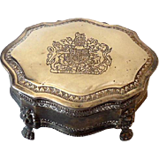 Larger Vintage Silverplated Lidded Dresser Vanity Jewelry Box
