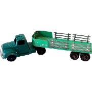 Tootsietoy Truck and Open Bed Stake Trailer