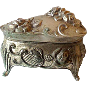 Lovely Vintage Metal Lidded Dresser Vanity Jewelry Box