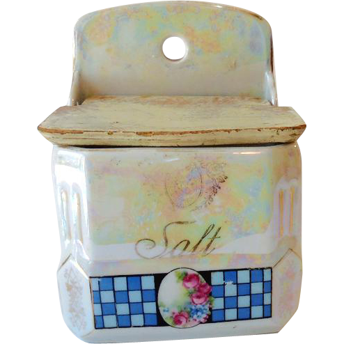 Vintage Hanging Salt Box with Wood Lid Victoria Czecho-Slovakia