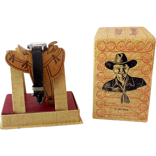 Vintage Hopalong Cassidy Wrist Watch in Original Saddle Display Box