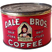 Hard to Find 1940s Dale Brothers Coffee Tin Fresno California