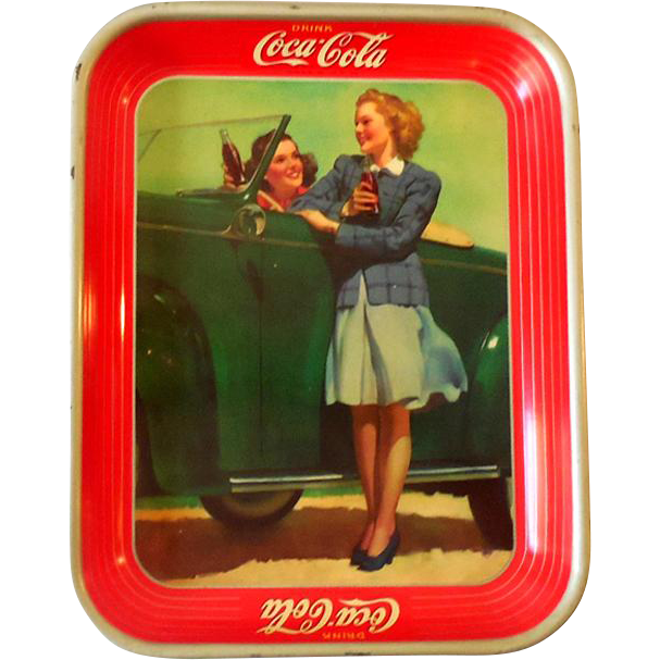 Original 1940s Tin Lithograph Coca Cola Advertising Tray