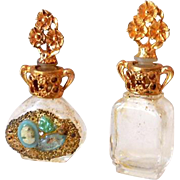 (2) Miniature Ornate Perfume Bottles w/ Gold Filled Caps Adrian USA