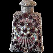 Miniature Purple Glass Perfume Bottle Heavily Jeweled