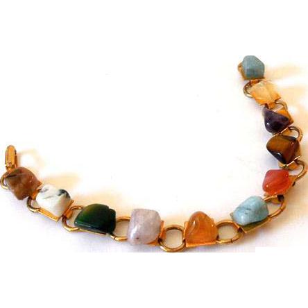 Vintage Link Bracelet Natural Chunky Stones