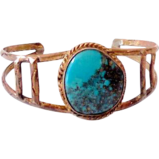 Old Native American Turquoise and Silver Cuff Bracelet