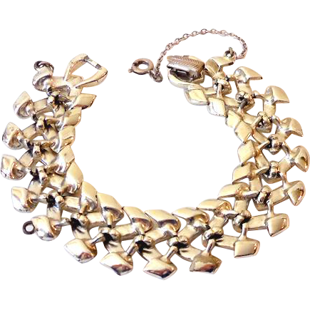 Vintage Signed Coro Silver Tone Bracelet With Safety Chain