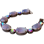 Striking Vintage Bracelet Large Opalescent and Aurora Borealis Stones