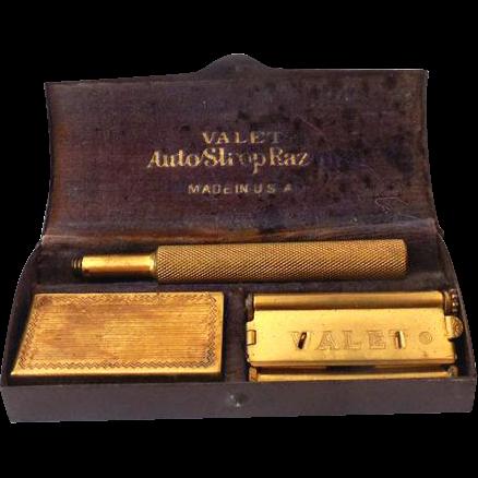 Vintage 1930s Valet AutoStrop Safety Razor in Metal Box