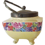 Lovely Victorian Footed Biscuit Jar With Handle Made In England