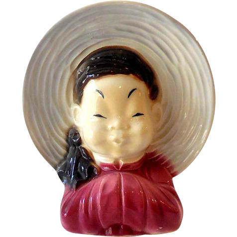 Royal Copley Asian Girl Head Vase Wall Pocket Planter California Girls Ruby Lane