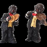 (2) Black Americana Musician Figurines