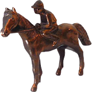 Medium Size Metal Race Horse and Jockey