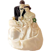 Sweet 1940s Wedding Cake Topper Bride and Groom