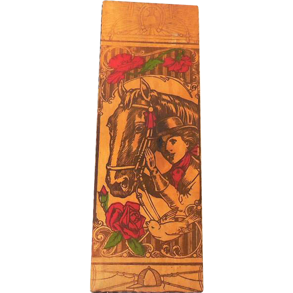 Early Lidded Wood Glove Box Cowgirl & Horse Pyrography