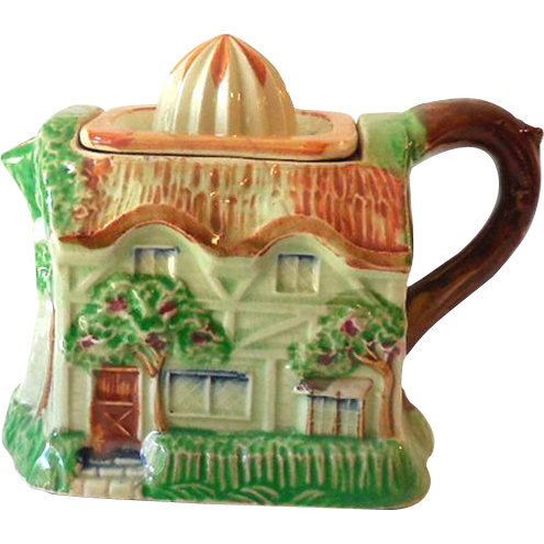 1940s Figural Cottage Ceramic Citrus Juice Reamer