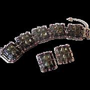 Outrageous Vintage Bracelet and Earrings Set Purple Pink
