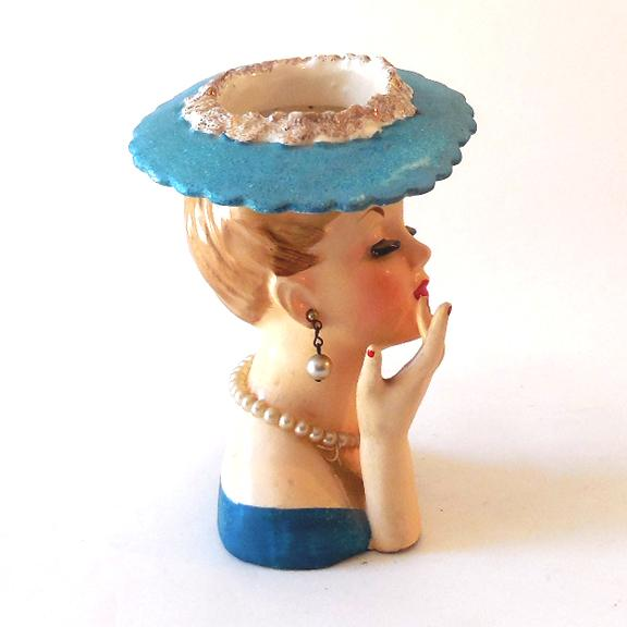Figural Lady In Pearls Napco Head Vase Dated 1958 Sold On