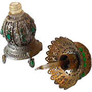 Unusual Miniature Metal Clad & Jeweled Perfume Bottle