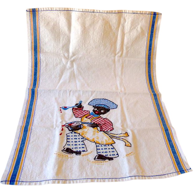 1940s Hand Embroidered Dish Towel Black Americana