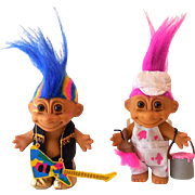(2) 1980s Russ Troll Dolls With Accessories Painter & Guitar Player