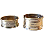 (2) Victorian Era Sterling Silver Napkin Rings English Hallmarks