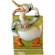 1930s Disney Bisque Toothbrush Holder Long Bill Donald Duck