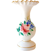 Pretty Vintage Blown Milk Glass Vase With Painted Flowers