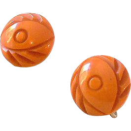 1930s Carved Bakelite Butterscotch Screw Back Earrings
