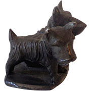 Bronze Finished Cast Iron Scottie Dogs Figurine