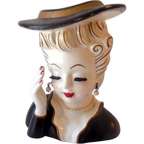 Vintage 1950s Artmark Lady Head Vase Wearing Pearls