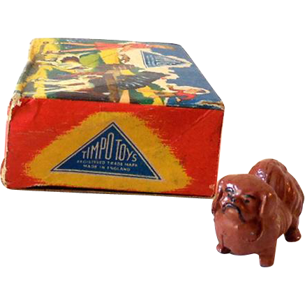 "1950s Timpo ""My Pet"" Lead Pekinese Dog In Original Box #5017"