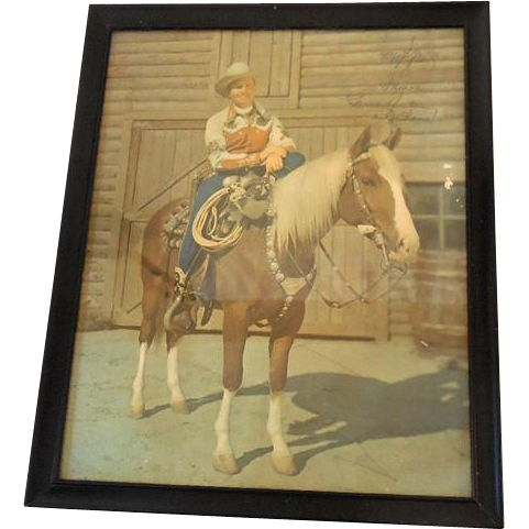 Signed Framed Color Photo Singing Cowboy Gene Autry